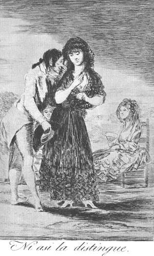 Goya - Caprichos - Plate 7: Even Thus he Cannot Make her Out
