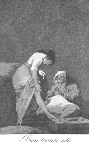 Goya - Caprichos - Plate 17: It is Nicely Stretched