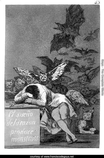 Caprichos - Plate 43: The Sleep of Reason Produces Monsters