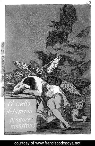 Goya - Caprichos - Plate 43: The Sleep of Reason Produces Monsters