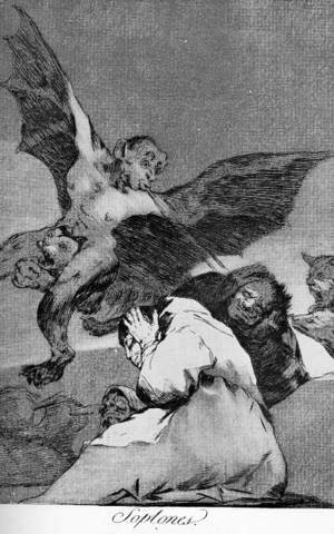 Goya - Caprichos - Plate 48: Tale-Bearers: Blasts of Wind