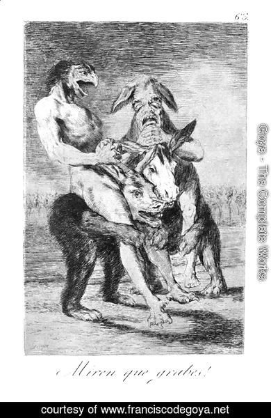 Goya - Caprichos - Plate 63: Look how Solemn they are!