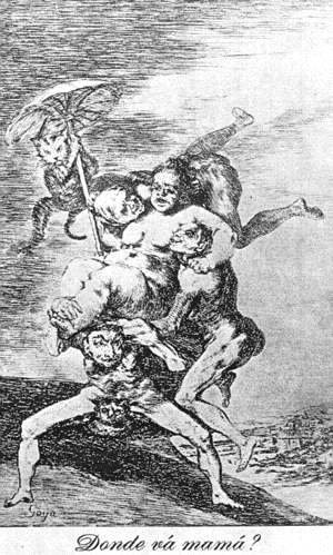 Goya - Caprichos - Plate 65: Where is Mama Going?