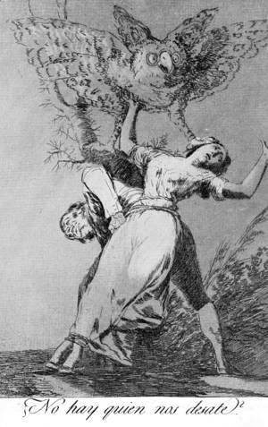 Goya - Caprichos - Plate 75: Can't Anyone Untie Us?