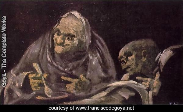 Two Old Women Eating from a Bowl