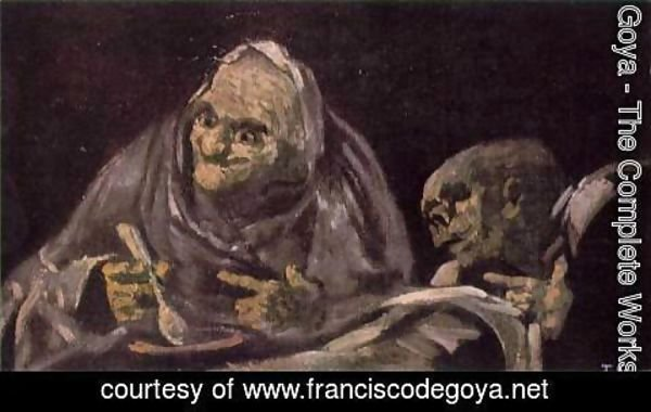 Goya - Two Old Women Eating from a Bowl