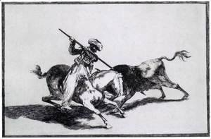 Goya - The Morisco Gazul is the First to Fight Bulls with a Lance