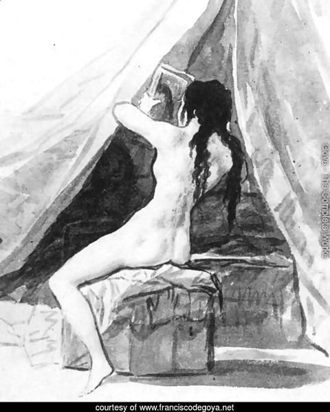 Nude Woman Holding a Mirror 2