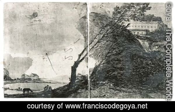 Goya - Landscape with Buildings and Trees
