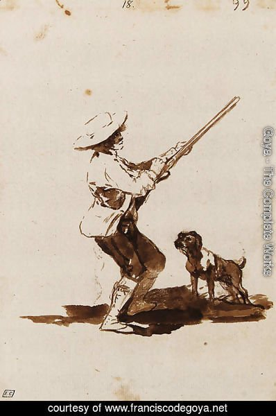 A Hunter loading his Gun, accompanied by his dog