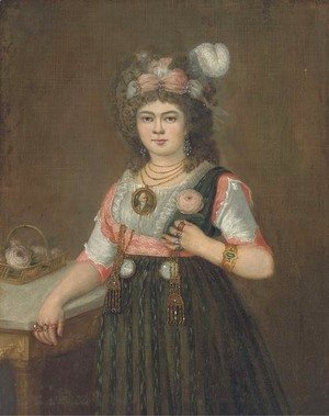 Goya - Portrait of a lady, three quarter-length, with her right hand on a table