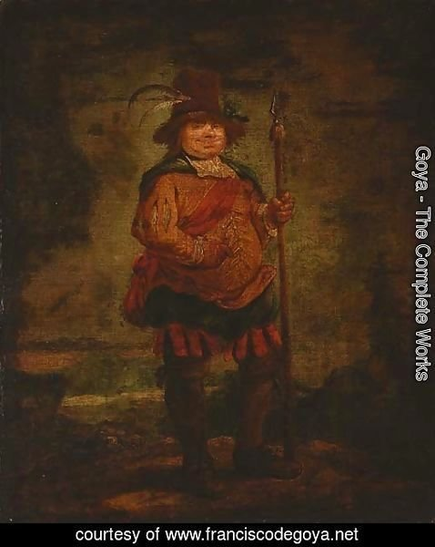 Portrait of a peasant man, standing full-length, wearing a pleated orange doublet and holding a spear