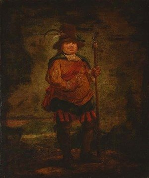 Goya - Portrait of a peasant man, standing full-length, wearing a pleated orange doublet and holding a spear