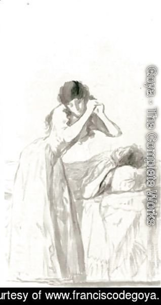 A Young Woman Arranging Her Hair Beside A Bed On Which Another Woman Is Resting