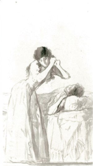 Goya - A Young Woman Arranging Her Hair Beside A Bed On Which Another Woman Is Resting