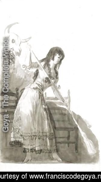Goya - A Young Woman Sweeping In A Tavern