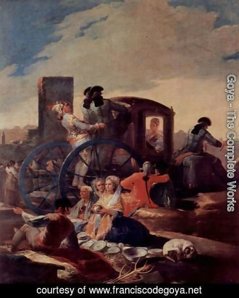 Goya - Designs for tapestries to decorate the royal palace of El Pardo and El Escorial, scene The harness Seller