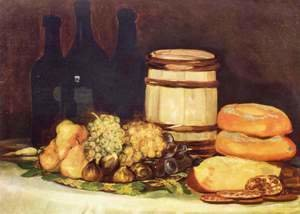 Goya - Still life with fruit, bottles, breads
