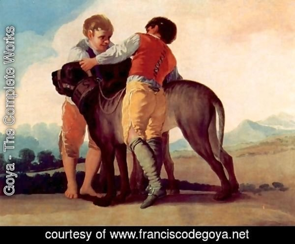 Goya - Designs for tapestries to decorate the Konigl. Palace of El Pardo and El Escorial, scene boys with bloodhounds
