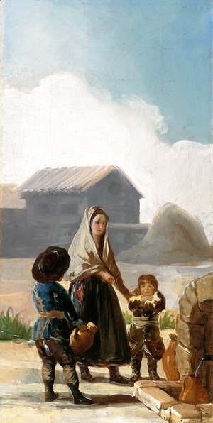 Goya - A woman and two children by a fountain