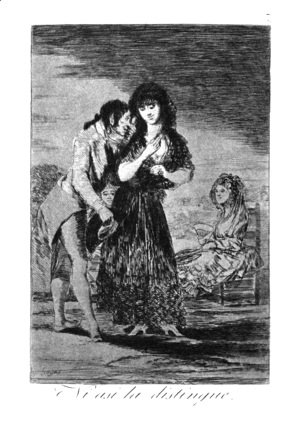Goya - Caprichos  Plate 7  Even Thus He Cannot Make Her Out