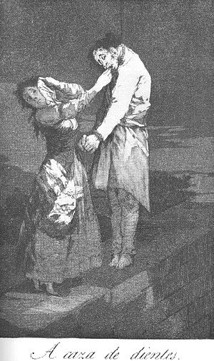 Goya - Caprichos  Plate 12  Out Hunting For Teeth