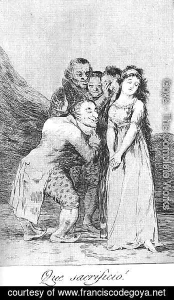 Goya - Caprichos  Plate 14  What A Sacrifice