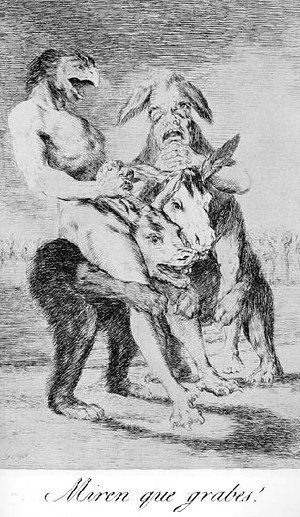 Goya - Caprichos  Plate 63  Look How Solemn They Are