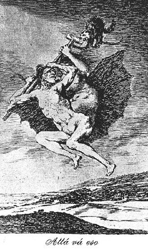Goya - Caprichos  Plate 66  Up They Go